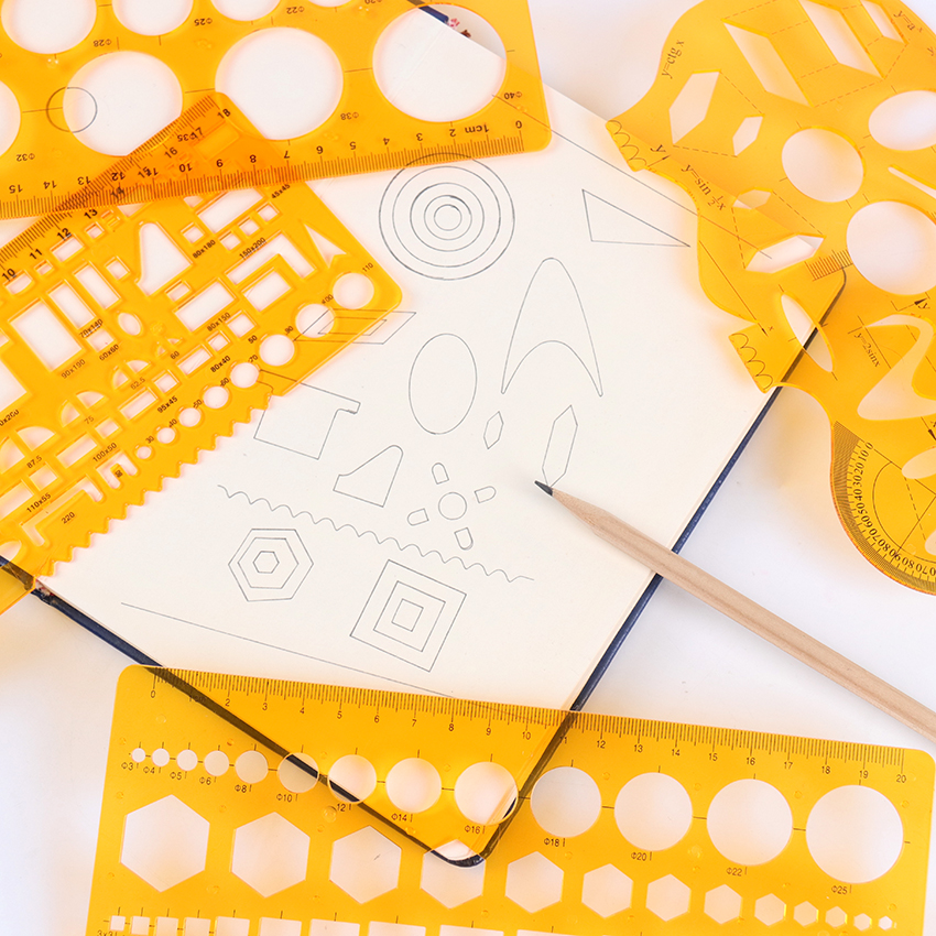 4 Different Rulers Yellow Soft Plastic Circles Geometric Template Ruler Stencil Measuring Tool Students School Supplies