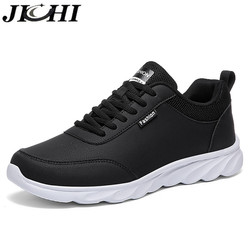 JICHI Men Casual Shoes Leather Breathable Men Sneakers Comfortable Walking Shoes Lightweight Rubber Couple Sneakers for Men