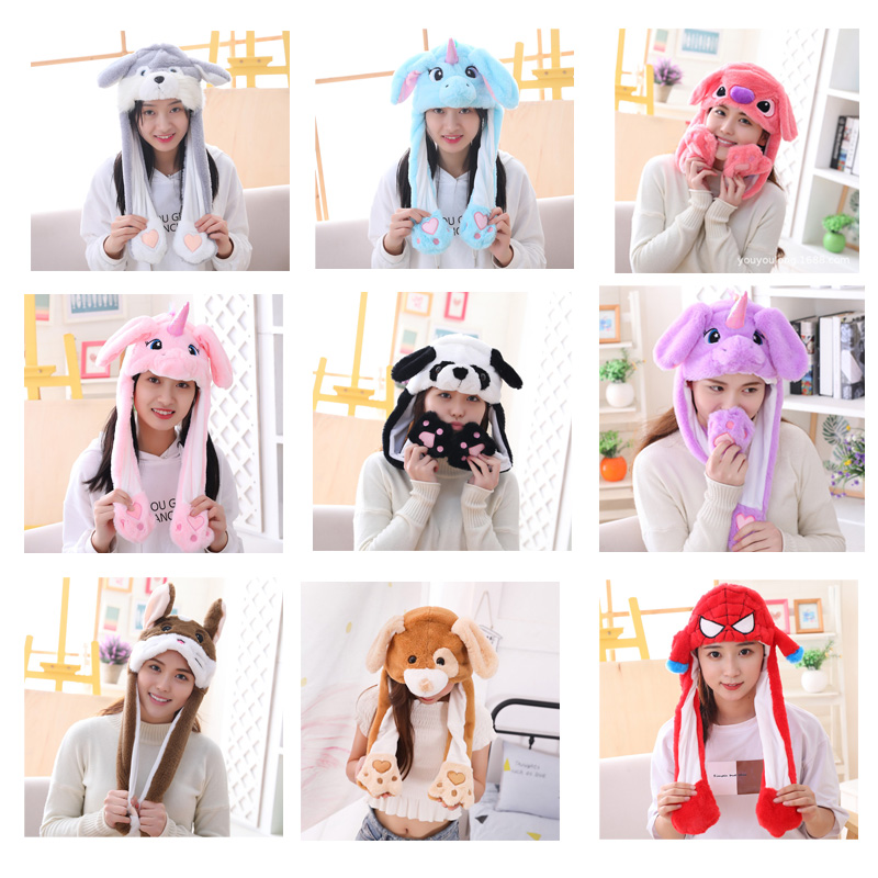 Various Styles Cute Rabbit Hat With Light Funny Air Float Filling Ear Moving Cap Cartoon Plush Stuffed Toys Gifts For Kids