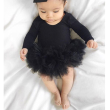 0-24M Infant Newborn Baby Girls Rompers Princess Tulle Ruffles Jumpsuit Long Sleeve Baby Autumn Spring Clothes Black