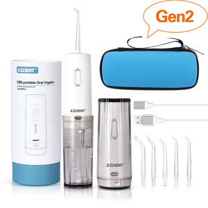 Image 2 - AZDENT Cordless Oral Irrigator Portable Water Dental Flosser With Travel Case Rechargeable Battery 4 Modes Nose Clean 5 Jet Tips