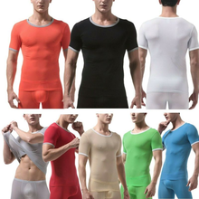 Tee Underwear Tight-Tshirt Short-Sleeve Breathable Ice-Silk Sexy Tops Smooth Compression