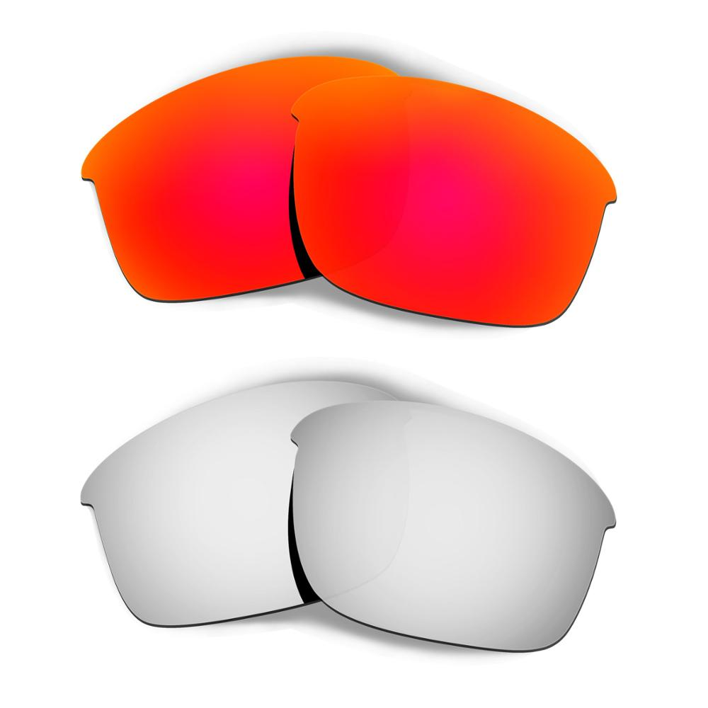 HKUCO For Bottle Rocket Sunglasses Replacement Polarized Lenses 2 Pairs - Red & Silver