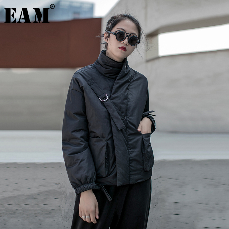 [EAM] Black Warm Buckle Cotton-padded Coat Long Sleeve Loose Fit Women Parkas Fashion Tide New Spring Autumn 2020 19A-a819