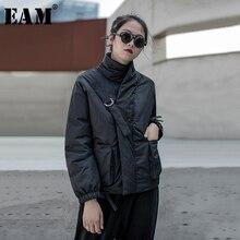 [EAM] 블랙 웜 버클 코튼 패딩 코트 긴 소매 느슨한 맞는 여성 파커 패션 조수 새로운 봄 가을 2020 19A a819