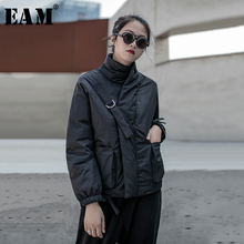 [EAM] Black Warm Buckle Cotton padded Coat Long Sleeve Loose Fit Women Parkas Fashion Tide New Spring Autumn 2020 19A a819