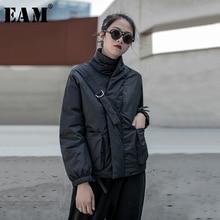 [EAM] Black Warmหัวเข็มขัดฝ้ายเสื้อแขนยาวหลวมFitผู้หญิงParkasแฟชั่นฤดูใบไม้ผลิใหม่ฤดูใบไม้ร่วง2020 19A a819