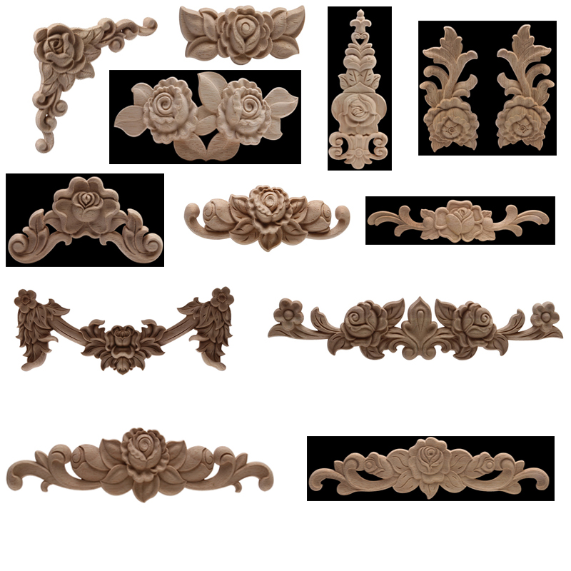 Ornamental Unpainted Natural Wood Decal Wood Applique Wood Craft Rose Leaves Flower Wooden Window Home Walls Furniture Corner