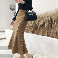 Skirts Plaid Winter Women Office Woolen Elegant High-Waist Fashion Package Hip-Jupes