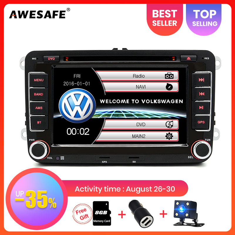 AWESAFE 2 Din 7 Inch Car DVD Player For VW/Volkswagen/Passat/Touran/Polo/Golf/Tiguan/Sharan Car Radio with Navigator GPS Card Toyota Land Cruiser