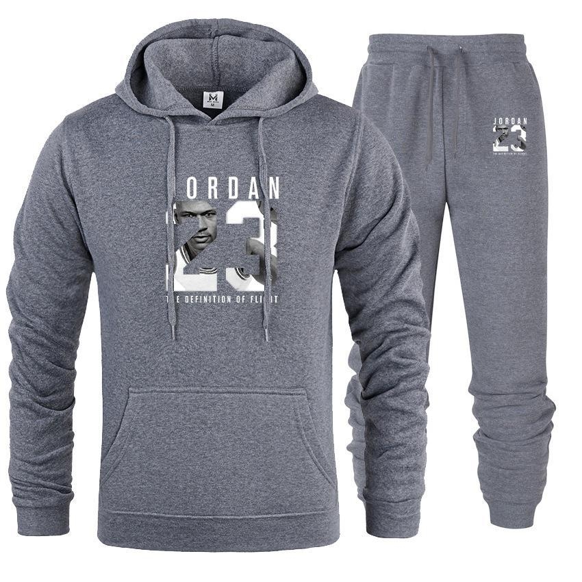 2019 Brand Tracksuit Fashion JORDAN 23 Print Men Sportswear Pullover Two Sets Leisure Fleece hoodies +Pants Sporting Suit Male  (30)