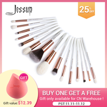Kit de pinceaux de maquillage Jessup cheveux synthétiques naturels pinceau maquillage mélange de poudre doublure 15 pièces outil de cosmétiques de beauté