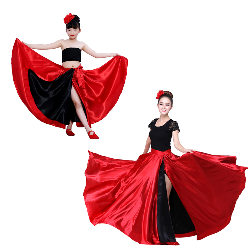 Red Black Satin Solid Spanish Flamenco Skirt Lace Up Female Dance Costumes 360-720 Degree Girls Ballroom Mother Daughter Dress