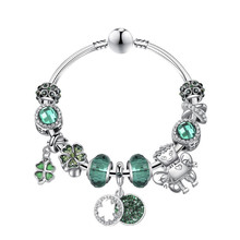 Delicate  Four -leaf Clover Crystal Pendant  Bracelet For Women Girls Party Prom  Personality  Bangle Jewelry retro faux crystal leaf cuff bracelet for women