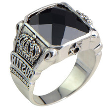 925 Sterling Silver Jewelry Vintage Thai Silver Crown Black Agate Men's Ring sg high polish 925 silver vintage black