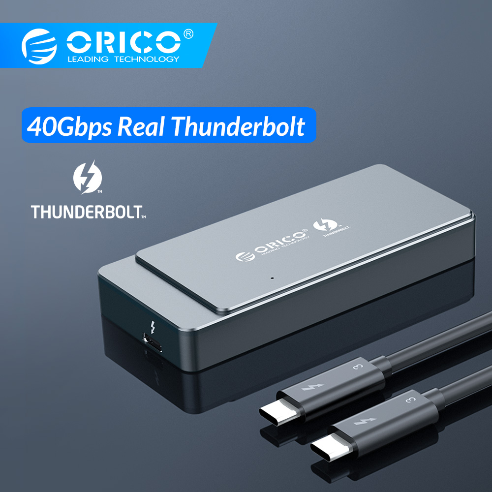 ORICO Thunderbolt 3 M.2 NVME SSD Enclosure 40Gbps Support 2TB Aluminum With 40Gbps Thunderbolt 3 C To C Cable For Mac Windows