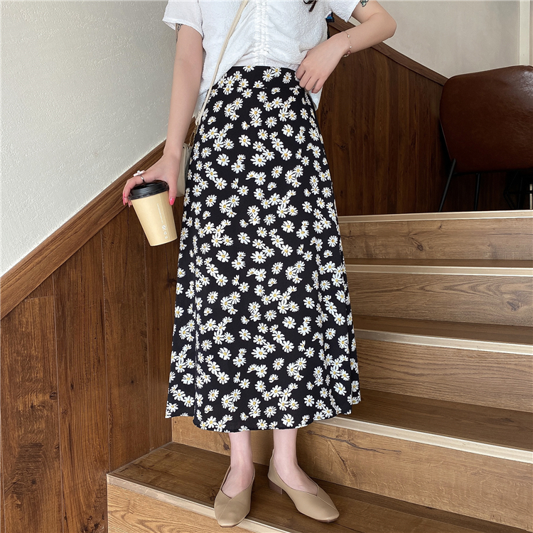 Summer Boho Vintage High Waist Skirt Ladies Kawaii Floral Print Midi Skirts Womens Korean Punk Streetwear Faldas Mujer Moda 2020