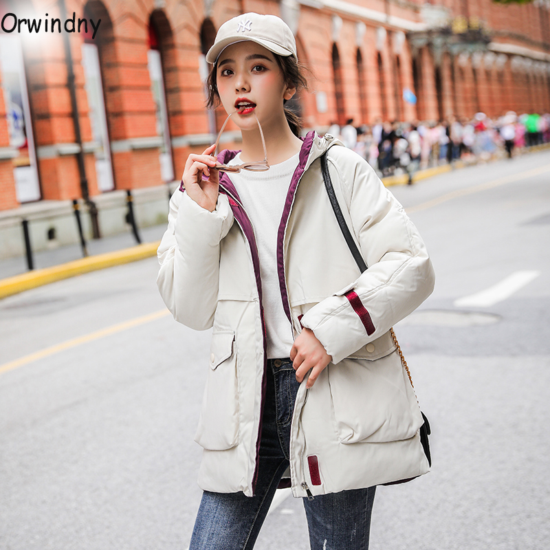 Orwindny Winter Coat Women Safari Style Cotton Padded Jacket Outwear Big Pockets Winter   Parkas   Jacket Oversize Waterproof Coats