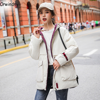 Orwindny Winter Coat Women Safari Style Cotton Padded Jacket Outwear Big Pockets Winter Parkas Jacket Oversize Waterproof Coats