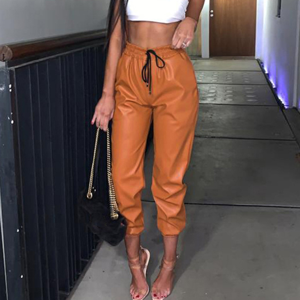 Womens Ladies Pants Faux Leather Orange High Waist Legging Pants Joggers Bottoms Pants Trousers Pantalon Femme Hiver Velvet#
