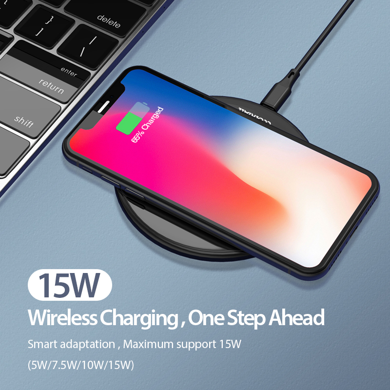 Image 2 - Coolreall 15W Qi Wireless Charger for Samsung S9 S10 iPhone X XS MAX XR 8 Plus for Xiaomi 9 Huawei P30 pro 10W Wireless Charging-in Mobile Phone Chargers from Cellphones & Telecommunications