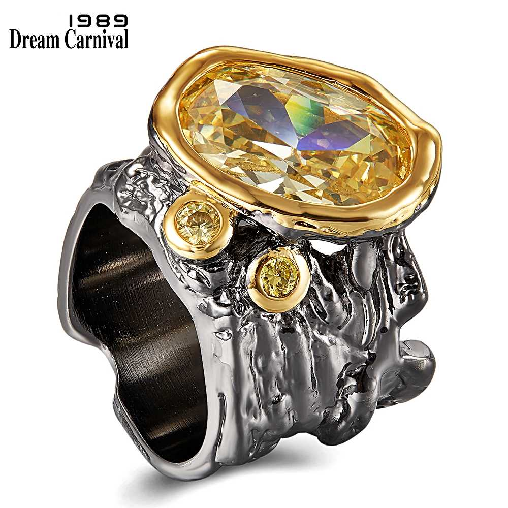 DreamCarnival1989 Very Big Dazzling Golden Zirconia Wedding Ring for Women Irregular Cut Band Gothic Chic Dating Jewelry WA11756