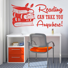 Large Reading Can Take You Anywhere Book Wall Decal Library Study Inspirational Quote Education Sticker LW275