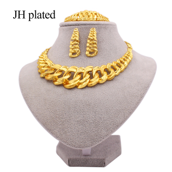 24K gold color jewelry sets for women bridal  luxury necklace earrings bracelet ring set Indian African wedding ornament gifts