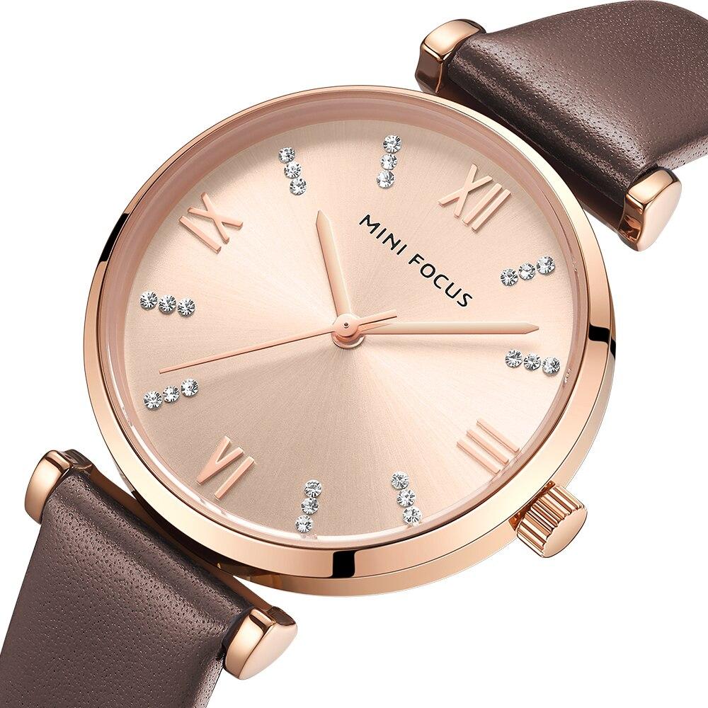 MINIFOCUS Women Watches Top Brand Luxury Fashion Casual Ladies Watch 30m Waterproof Brown Leather Strap Reloj Mujer Montre Femme