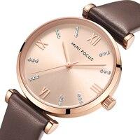 MINIFOKUS Frauen Uhren Top Marke Luxus Mode Casual Damen Uhr 30m Wasserdicht Braun Lederband Reloj Mujer Montre Femme-in Damenuhren aus Uhren bei