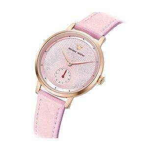 Image 2 - 2020 جديد فاخر المرأة الموضة العصرية ساعة اليد الإناث ديزني ساعة كوارتز جلد امرأة الساعات سيدة بنات هدية ميكي ساعة