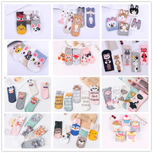 5pairs Cartoon women socks cotton invisible Cute Cat Fox animal Stereo ear girl ankle harajuku breathable