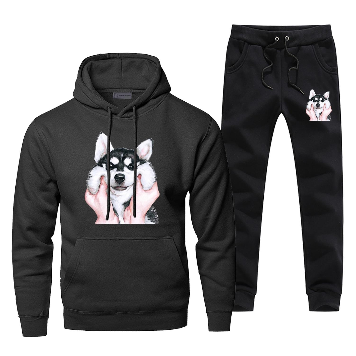 Funny Husky Dog Mens Hoodies Sets Two Piece Pant Animal Dogs Hoodie Sweatshirt Sweatpants Streetwear Harajuku Funny Sweatshirts