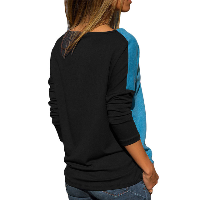 Hot Sale Long Sleeve T Shirt Women Autumn O Neck Color Patchwork Pullover