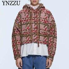 2019 Hooded Faux pearl Women knit Sweatshirt Oversize Long sleeve Plaid Female Sweater Outwear Fashion Spring Autumn YNZZU 9O049