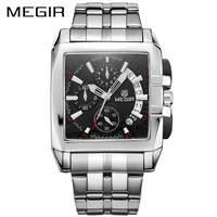 MEGIR למעלה יוקרה מותג שעונים גברים הכרונוגרף אנלוגי קוורץ שעון יד מלא נירוסטה בנד שעוני יד תאריך אוטומטי עמיד למים