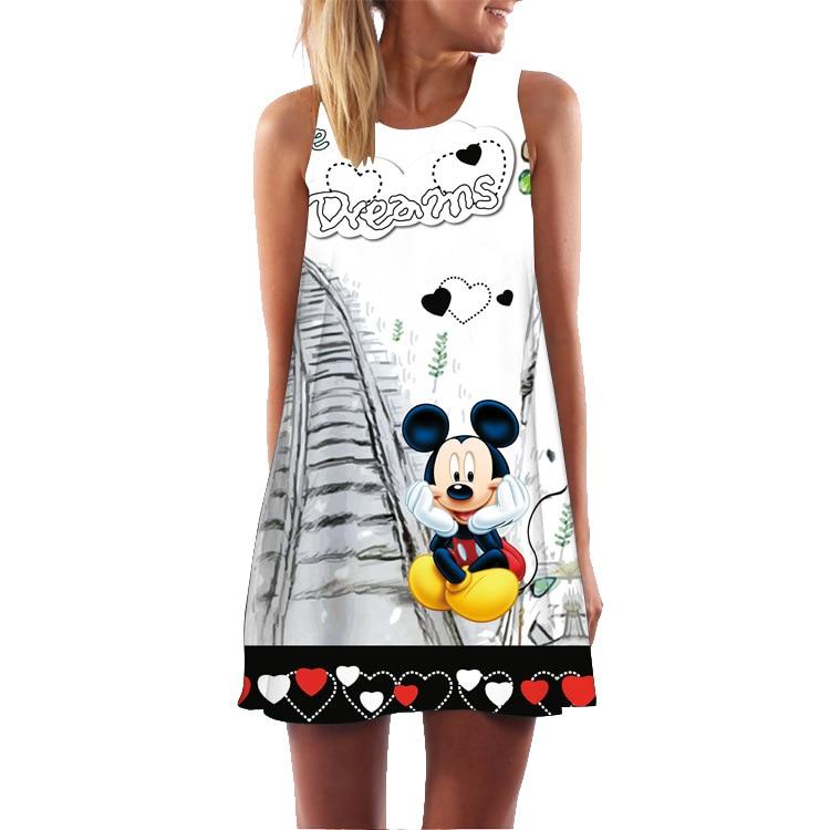 Summer Vest Floral Print Boho Dresses For Women Casual Beach Sundress Sleeveless Mickey Chiffon Dress Vestidos De Fiesta