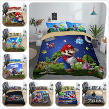 3d mario galaxy boys bedding set king queen double full twin single size bed linen set(China)