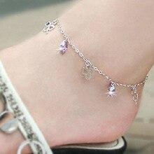 Настоящий продукт 925 пробы ножной браслет женский простой Аметист ножной браслет модные части корейский стиль подарок