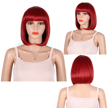 Short Bob Wigs With Straight Bangs 12 Inch Synthetic Fiber for Women