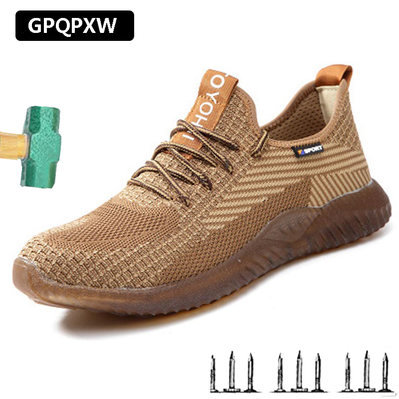 Men Steel Toe Safety Boots Work Outdoor Plus Size Breathable Sneakers Protective Puncture-proof Safety Shoes For Men Sneakers