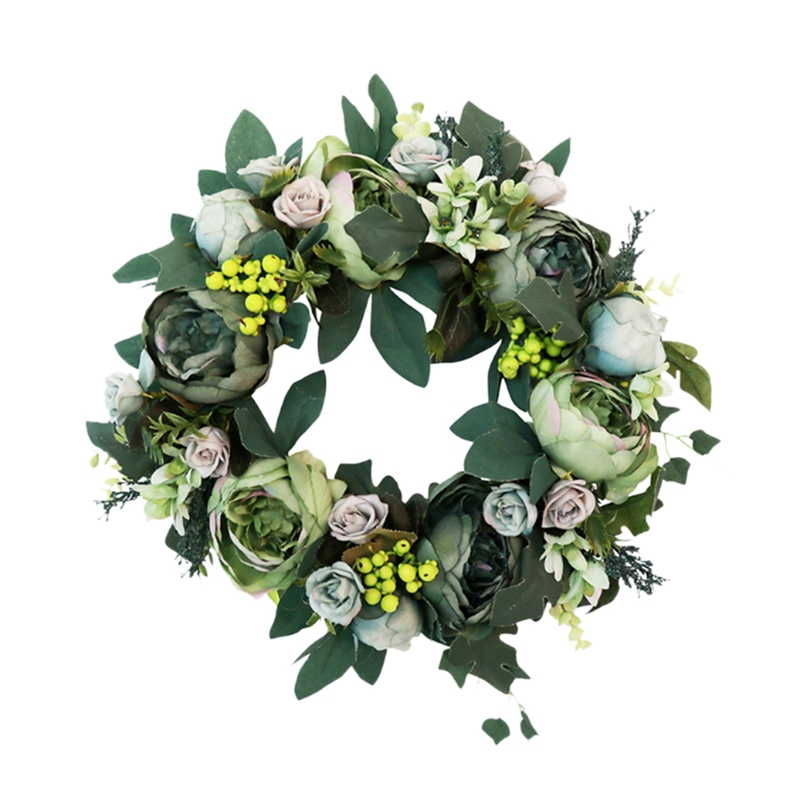 Artificial Peony Wreath Green Flower Door Wreath with Green Leaves Wreath for Front Door Decor Wedding Wall Home Decoration