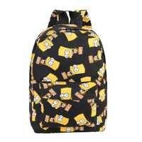 Moda grande capacidade dos desenhos animados das mulheres impressão lona mochila de viagem mochila escolar meninas lazer compras mochila