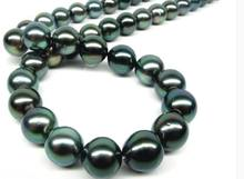 "19"" 18""15mm Natural Tahitian genuine black PEACOCK round pearl necklace (0926)(China)"