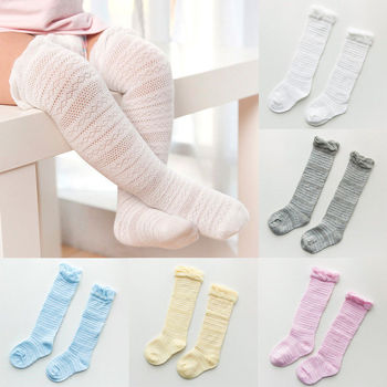 0-3T New Baby Girls Socks Newborn Knee High with Bows Cute Baby Socks Long Tube Kids Leg Warmers image