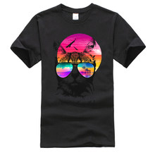 Vaporwave Cat Beach Hawaii t-shirts amusants 100% coton fête t-shirt Dominant à manches courtes hommes t-shirt Camisa vêtements de haute qualité(China)