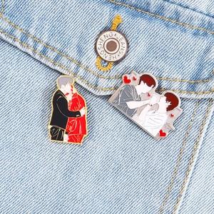 Bangtan Boys Pin KPOP Enamel Pins Taekook V Jungkook Brooch Lapel Pins Metal Badge Bag Hat Accessories Jewelry Gift For Fans