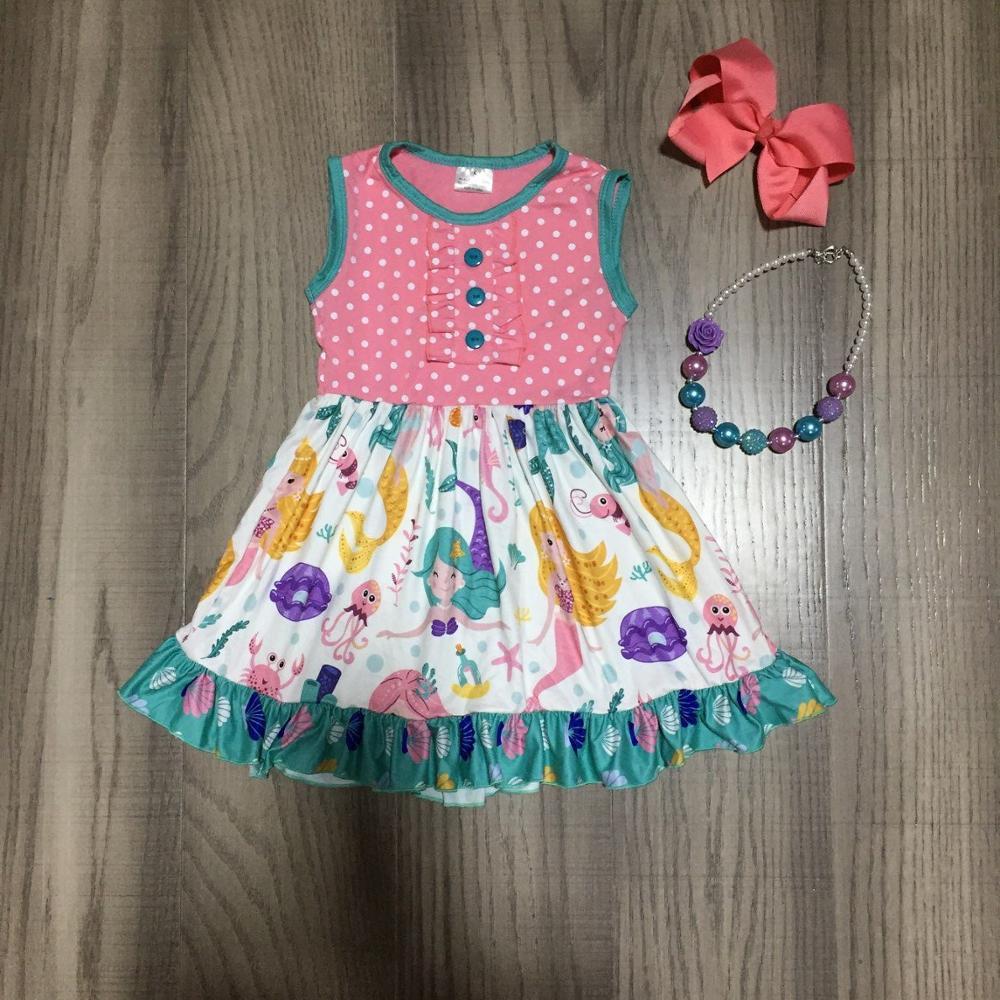 Baby Girls Summer Dress  Girls Mermaid Dress Girls Classic Dress With Accessories