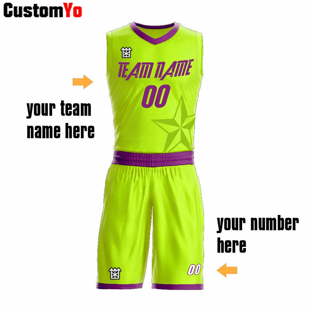 Comfortable Green And Purple Sleeveless Basketball Uniforms Printing Number Basketball Shorts