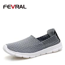 FEVRAL Marke Sommer Atmungsaktiv Männer Casual Schuhe Slip auf Faulenzer Hohe Qualität Handarbeit Gewebt Schuhe Männer Weiche und Leichte Wohnungen